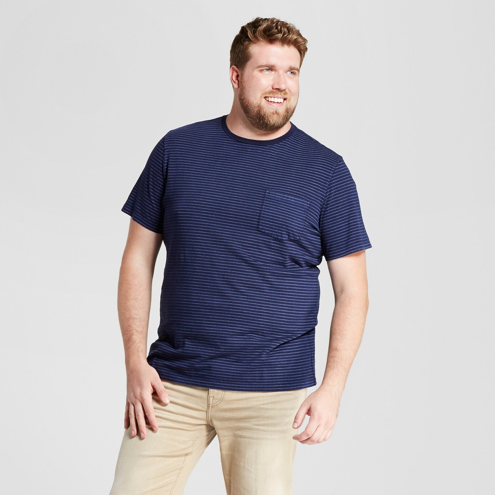 Mens Big & Tall Standard Fit Dyed Indigo Pocket Crew T-Shirt - Goodfellow & Co Navy 4XBT, Blue