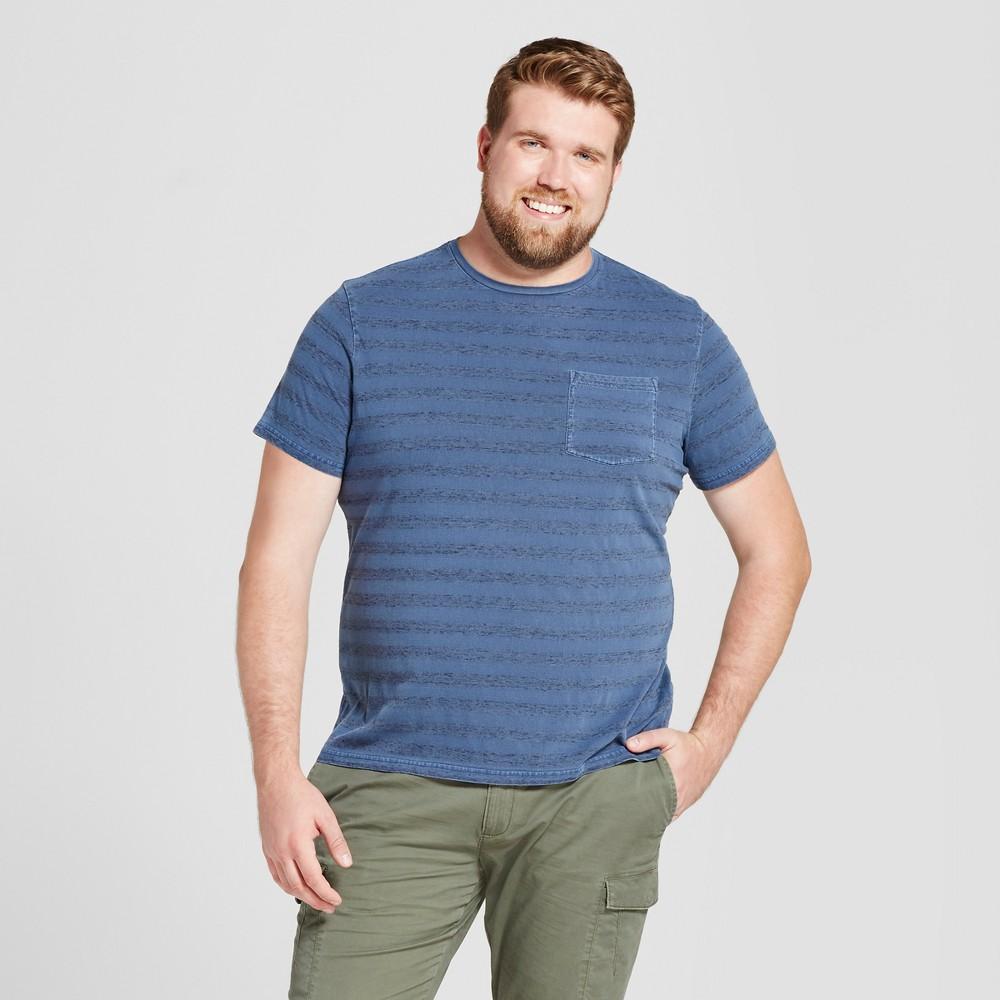 Mens Big & Tall Standard Fit Dyed Indigo Pocket Crew T-Shirt - Goodfellow & Co Slate Blue 4XB
