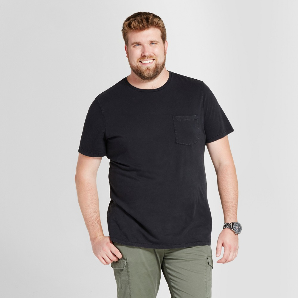 Mens Big & Tall Standard Fit Short Sleeve Garment-Dyed Crew T-Shirt - Goodfellow & Co Black 4XB