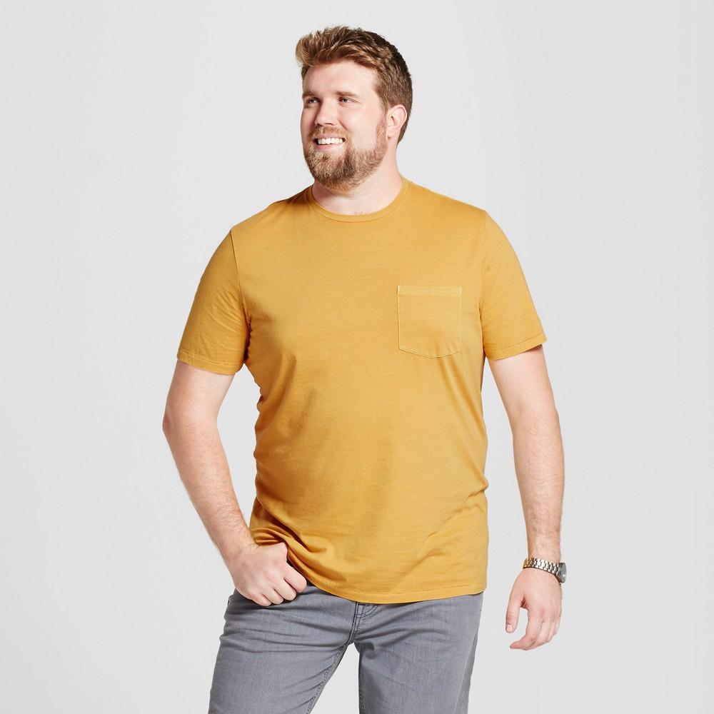 Mens Big & Tall Standard Fit Short Sleeve Garment-Dyed Crew T-Shirt - Goodfellow & Co Gold 3XB