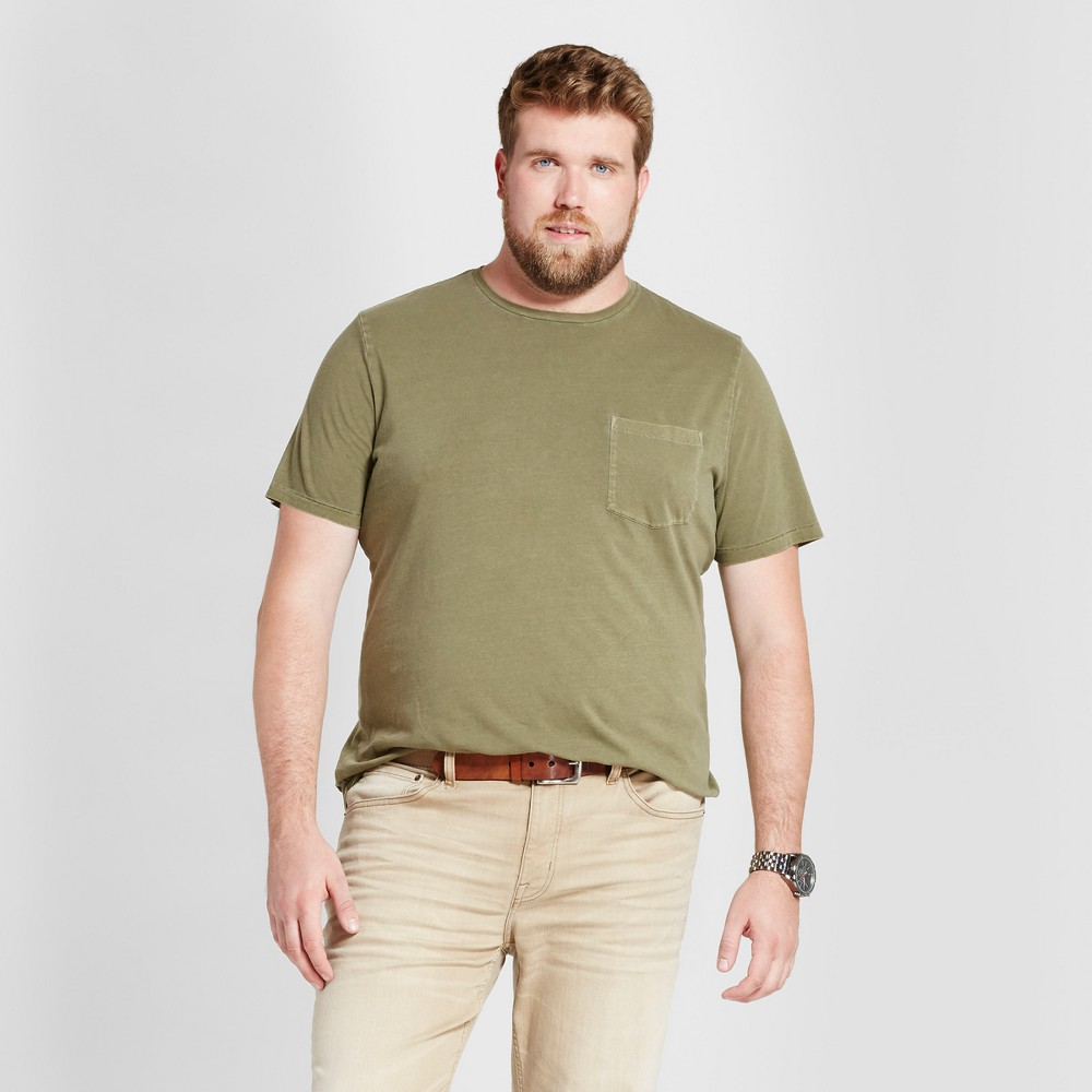 Mens Big & Tall Standard Fit Short Sleeve Garment-Dyed Crew T-Shirt - Goodfellow & Co Olive (Green) 4XBT