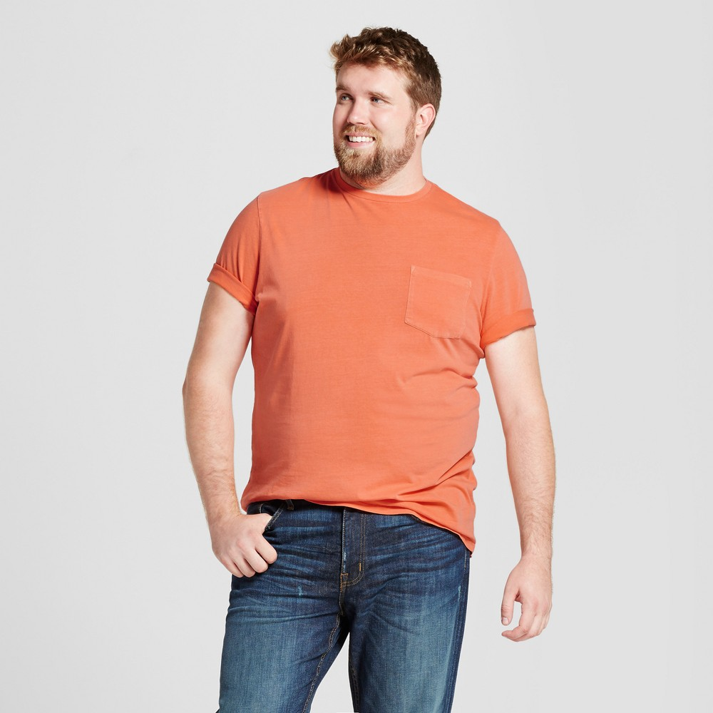 Mens Big & Tall Standard Fit Short Sleeve Garment-Dyed Crew T-Shirt - Goodfellow & Co Orange 4XB
