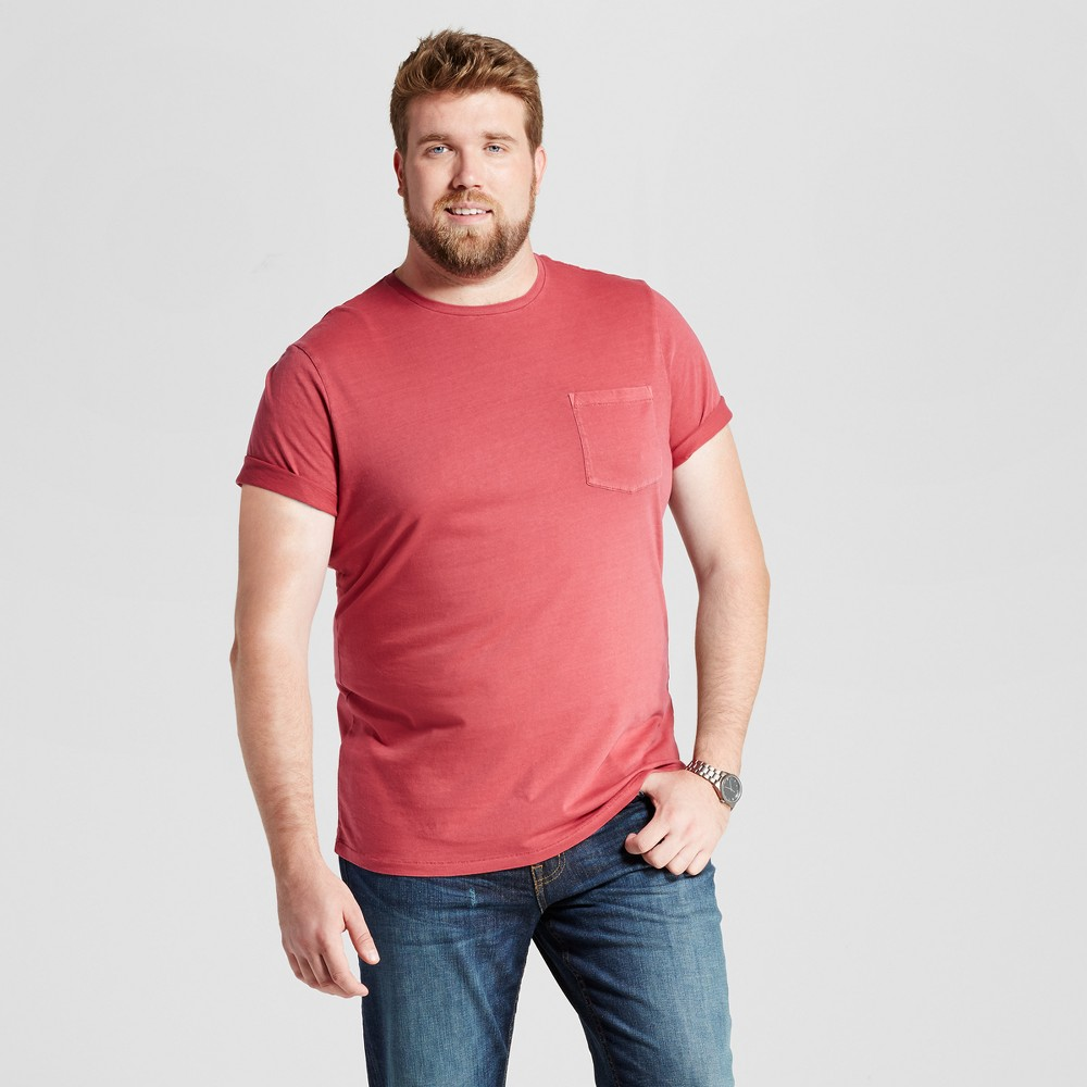 Mens Big & Tall Standard Fit Short Sleeve Garment-Dyed Crew T-Shirt - Goodfellow & Co Red 4XB
