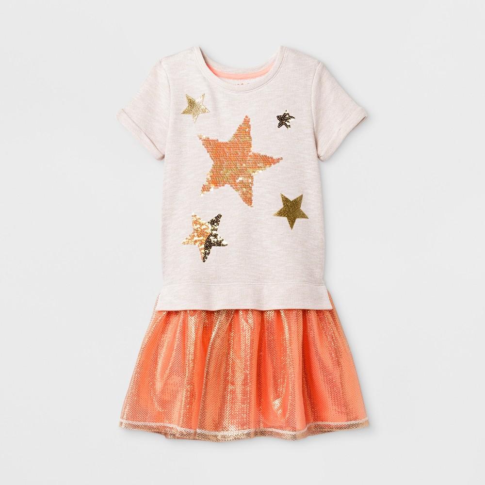 Girls Short Sleeve Dress - Cat & Jack Coral XS, Orange