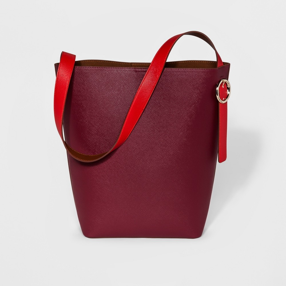 Womens Colorblock Tote Handbag - Who What Wear Cognac (Red)