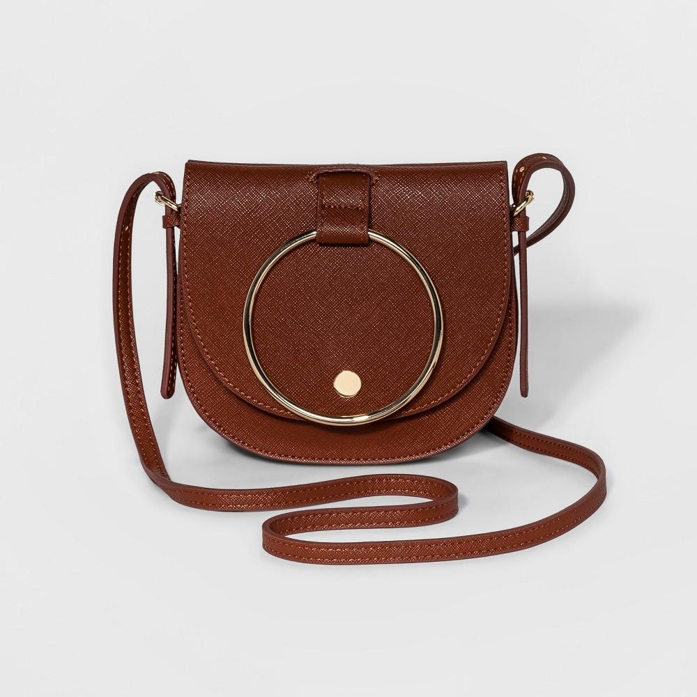 Womens Ring Mini Crossbody Handbag - Who What Wear Cognac (Red)