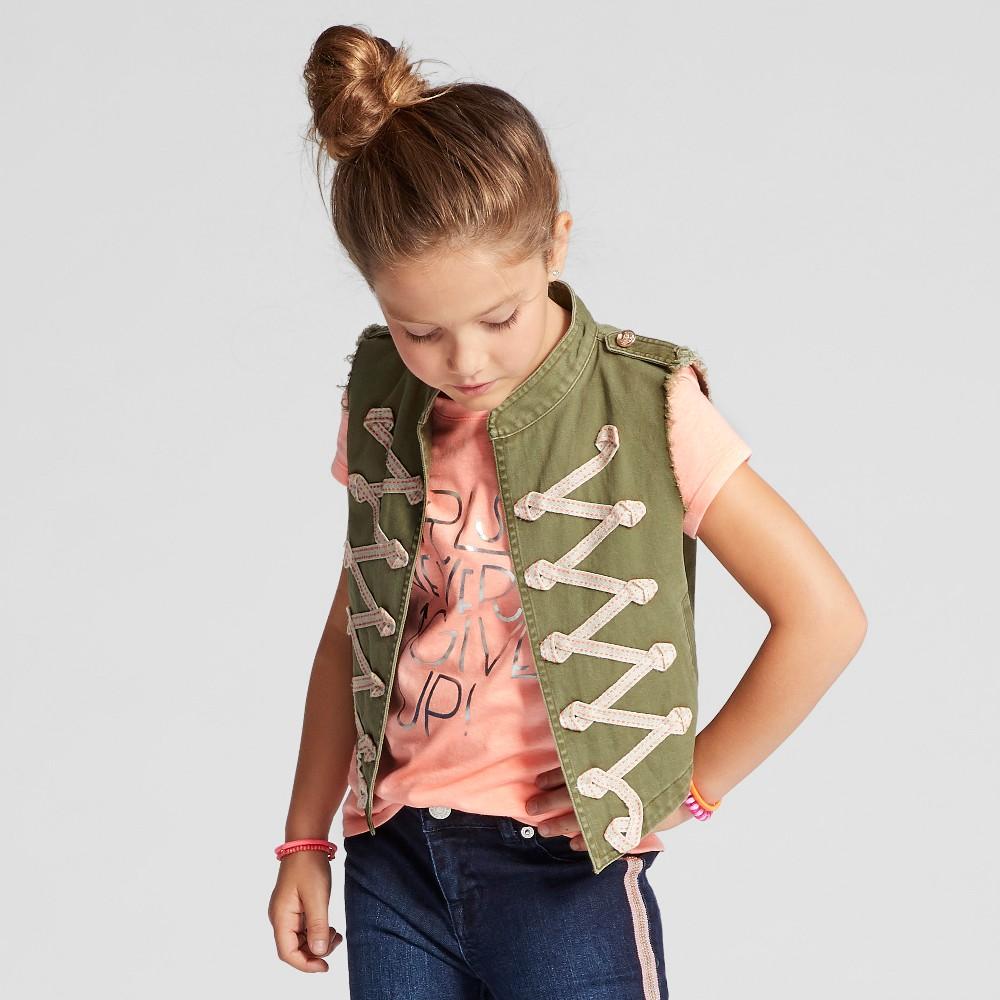 Girls Sleeveless Vest - Cat & Jack Olive XL, Green