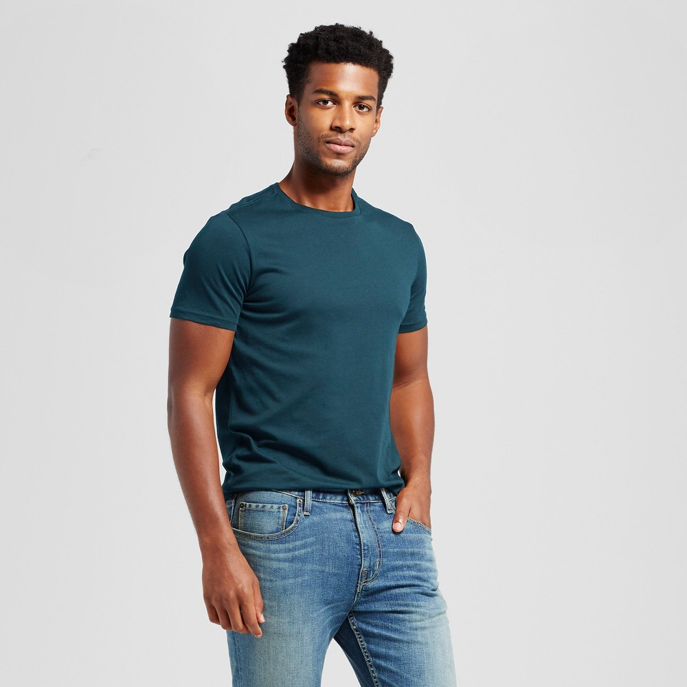 Mens Slim Fit Solid Crew T-Shirt - Goodfellow & Co Green XL