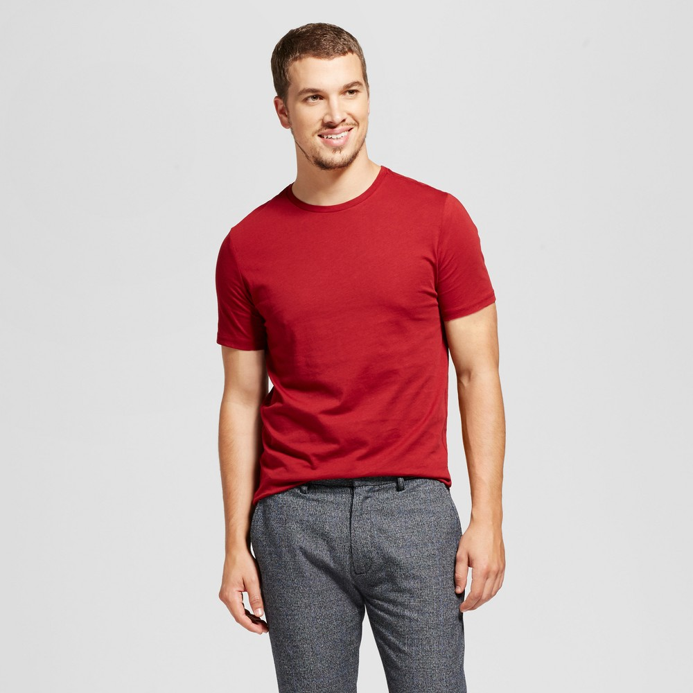 Mens Slim Fit Solid Crew T-Shirt - Goodfellow & Co Red L