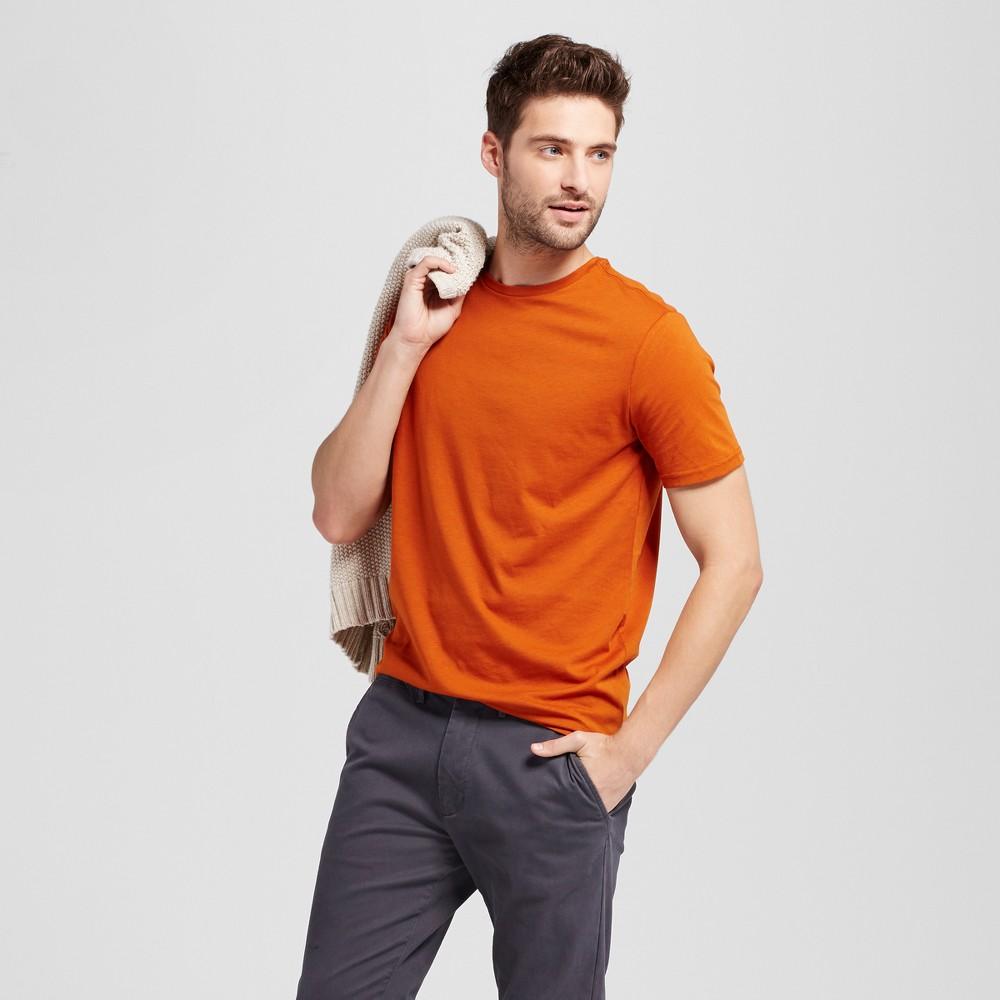 Mens Slim Fit Solid Crew T-Shirt - Goodfellow & Co Burnt Orange L