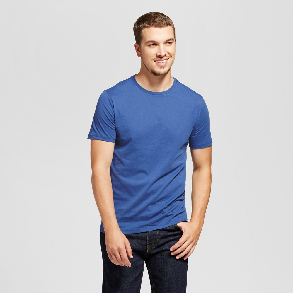 Mens Slim Fit Solid Crew T-Shirt - Goodfellow & Co Blue M