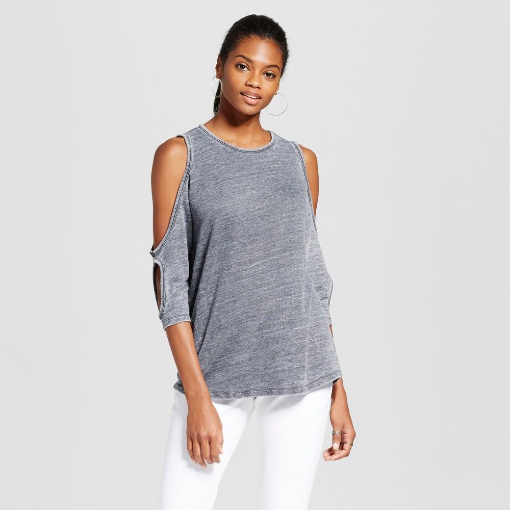 Womens 3/4 Sleeve Burnout Double Cold Shoulder Top - Alison Andrews Gray L, Black