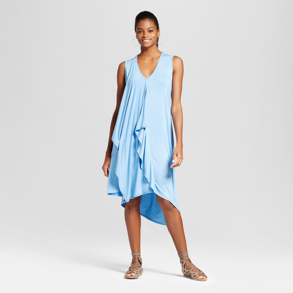 Womens Asymmetrical Ruffle Dress - Alison Andrews Blue S