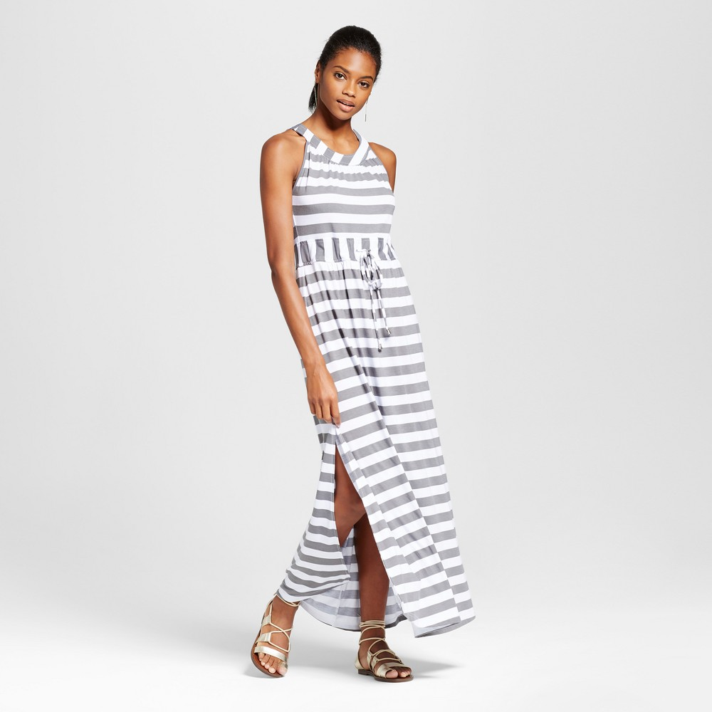 Womens Stripe Tie Waist Maxi Dress - Alison Andrews Gray/White M, Multicolored