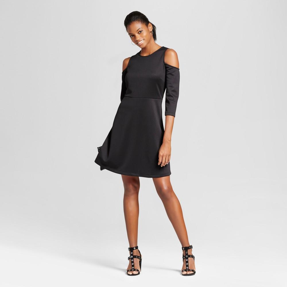 Womens Elbow Sleeve Cold Shoulder Fit n Flare Dress - Alison Andrews Black M
