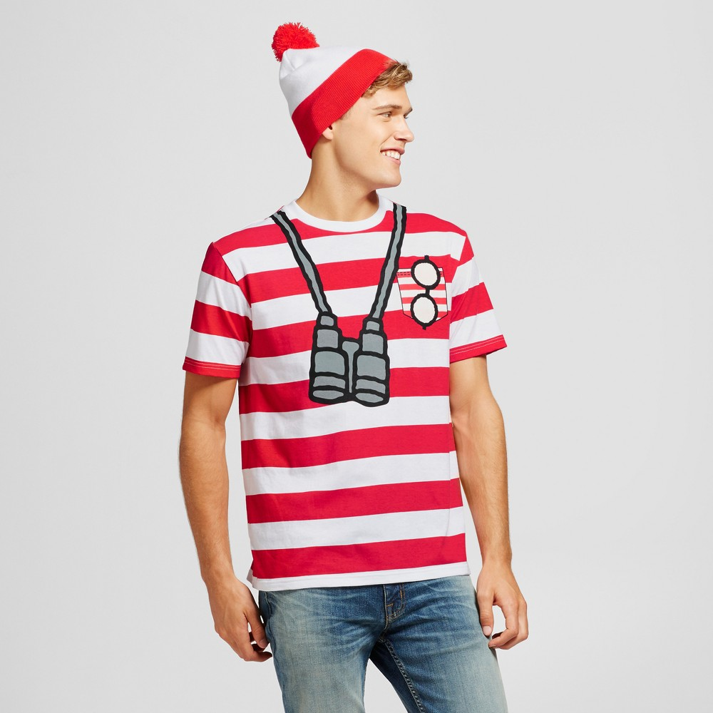 Mens Wheres Waldo? with Beanie Graphic T-Shirt - Red/White L, Red White
