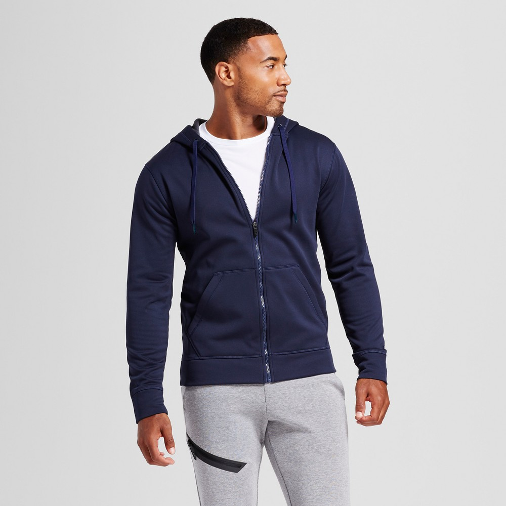 Mens Tech Fleece Zip - C9 Champion Navy (Blue) Railroad Gray XL