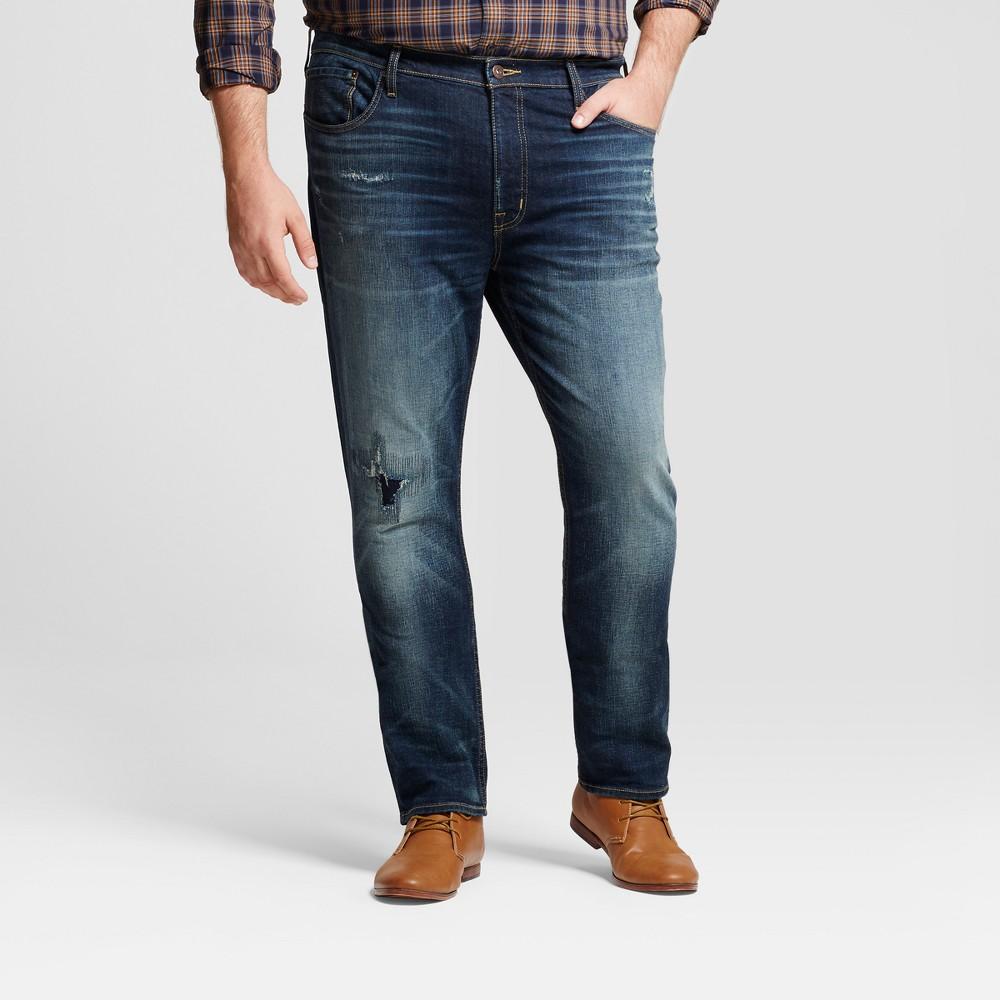 Mens Big & Tall Slim Fit Jeans with Destruction - Goodfellow & Co Dark Denim Wash 31x36, Blue