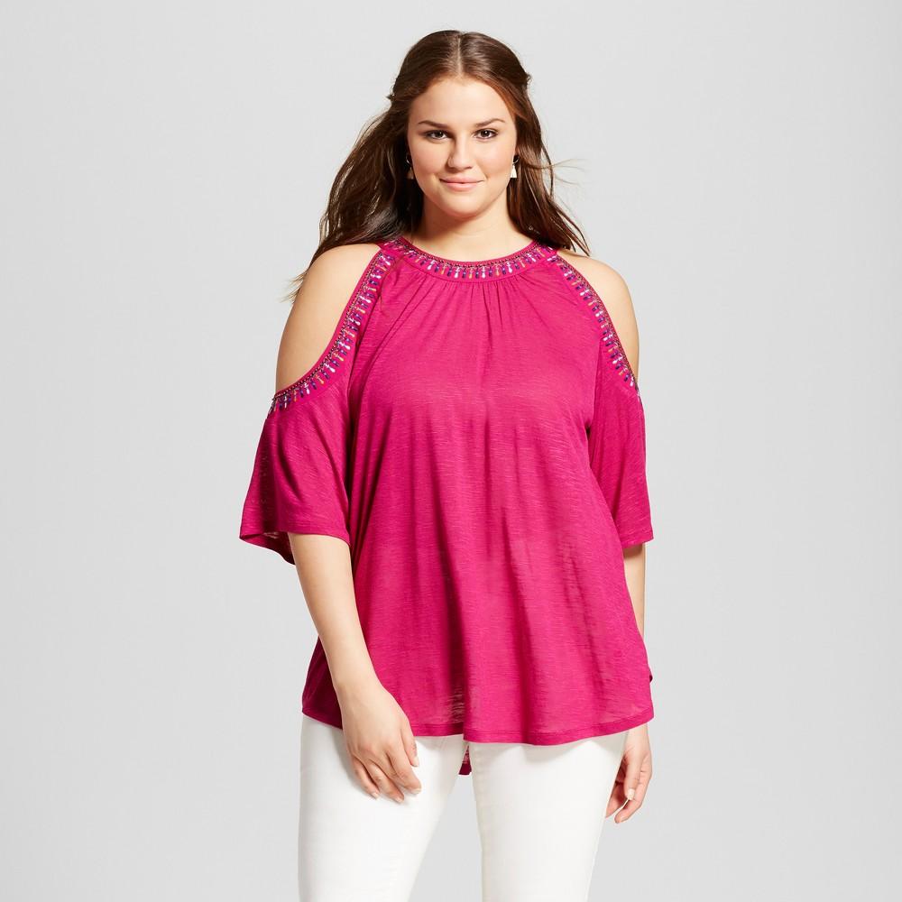 Womens Plus Size Beaded Cold Shoulder Blouse Pink 3X - Born Famous (Juniors)