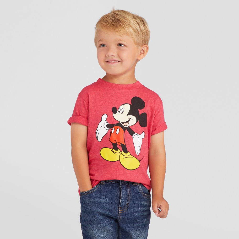 Toddler Boys Mickey Mouse T-Shirt - Heather Red 4T