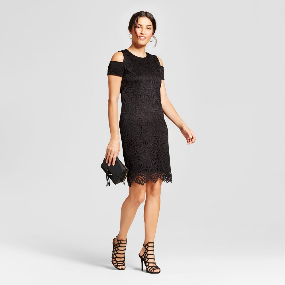 Womens Cold Shoulder Lace Sheath Dress - Zac & Rachel - Black 8