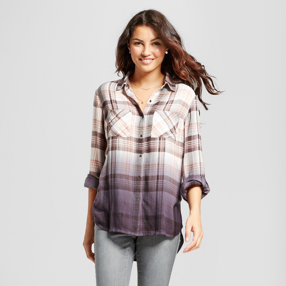Womens Dip Dye Plaid Top - Knox Rose M, Multicolored