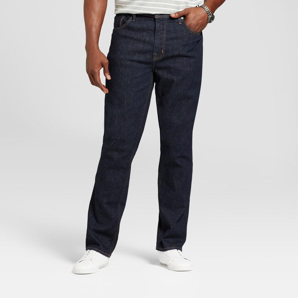 Mens Big & Tall Slim Straight Fit Jeans - Goodfellow & Co Dark Blue 44x36