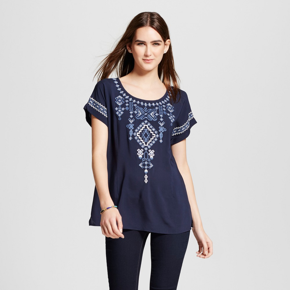 Womens Embroidered Top - Cliché - Navy M, Blue