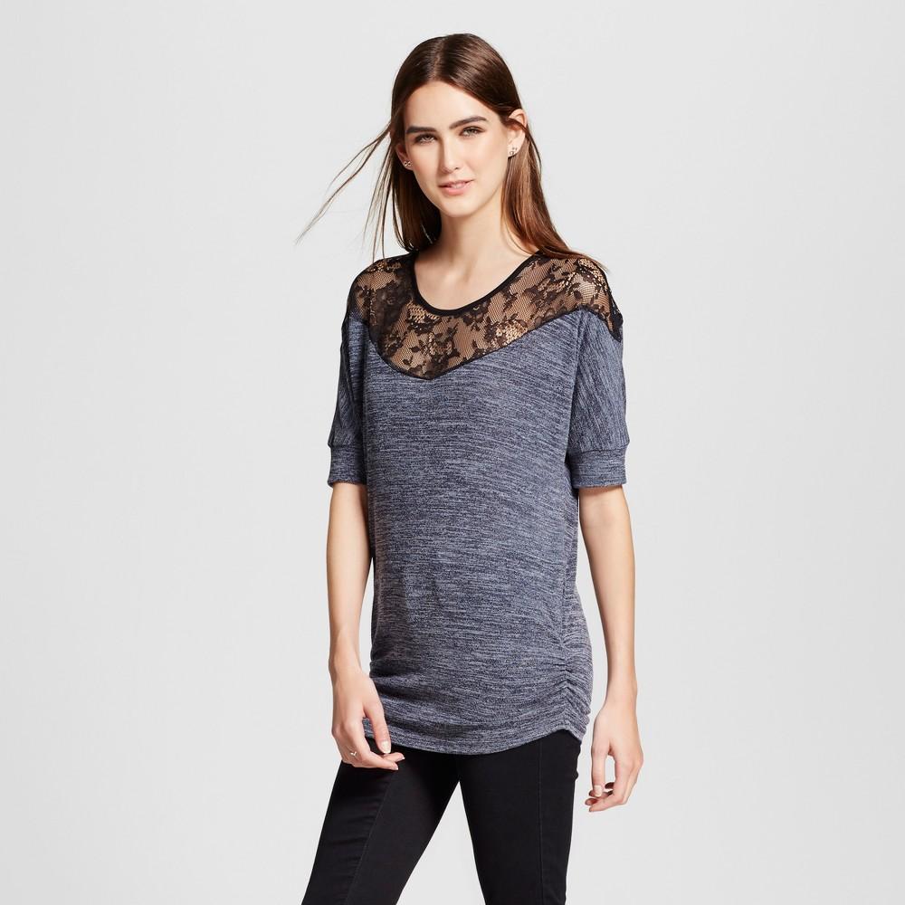Womens Illusion Off the Shoulder Knit Top - Cliché - Blue L