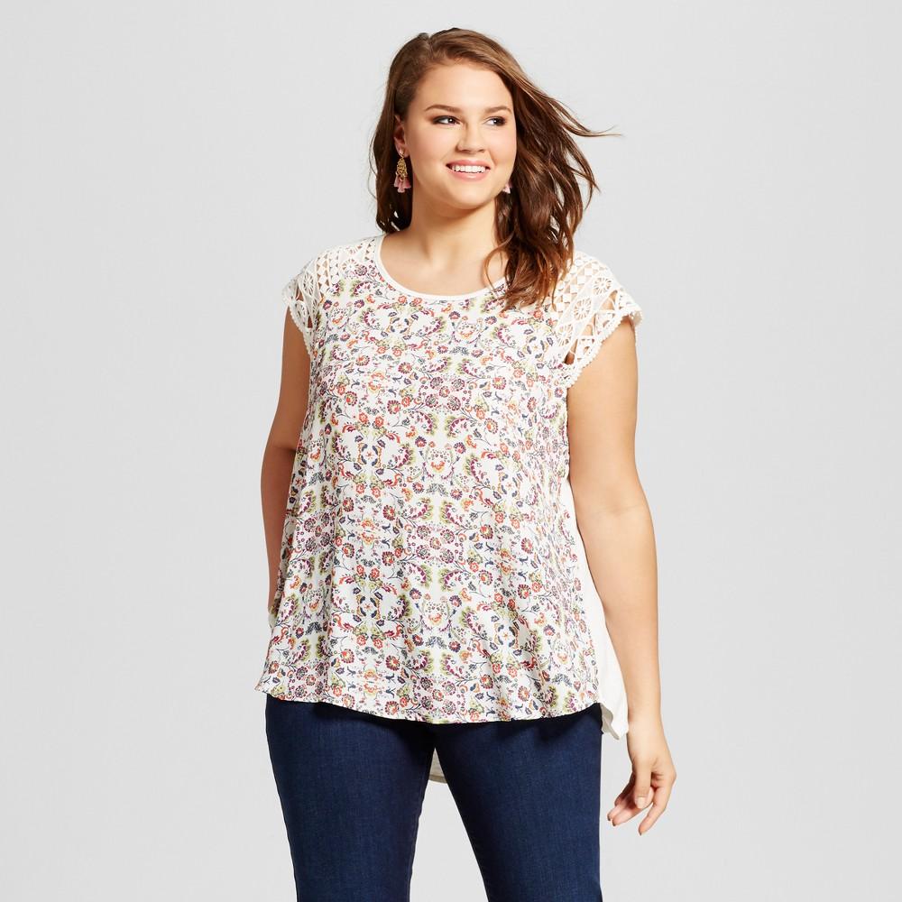 Womens Plus Size Lace Cap Sleeve Top Off White 2X - Born Famous (Juniors)