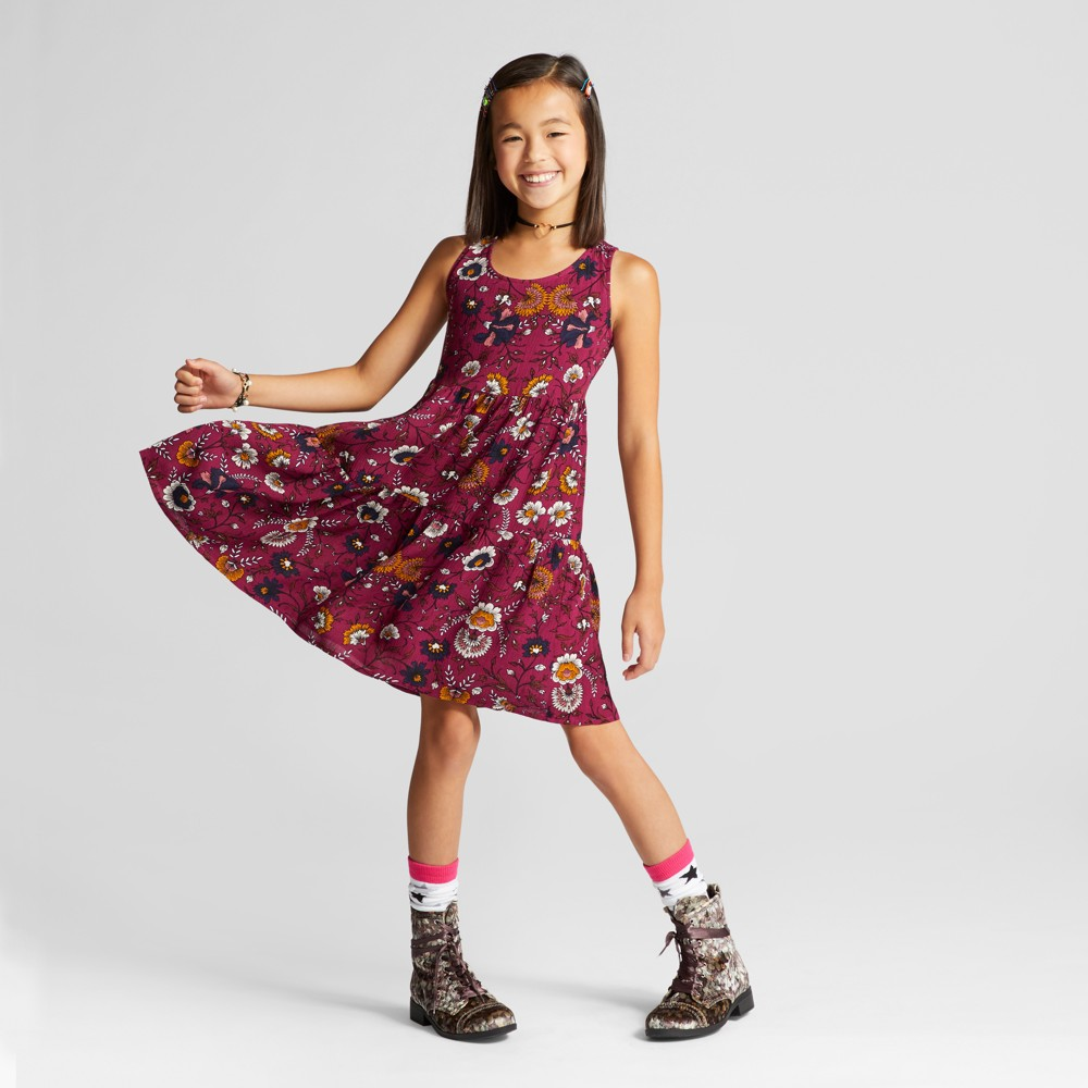 Girls Tiered Dress - Art Class Dynamo Violet XS, Red