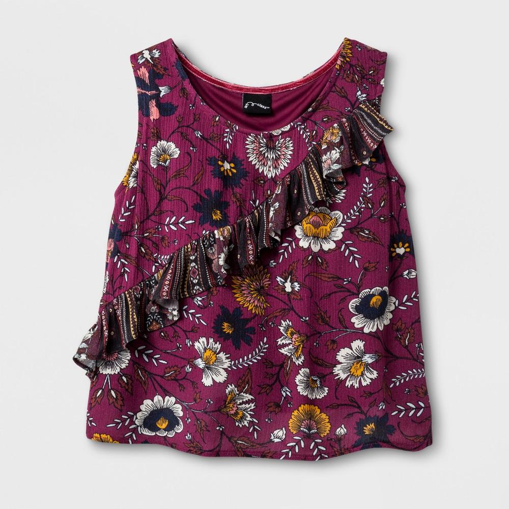 Girls Sleeveless Ruffle Top - Art Class Dynamo Violet XL, Red