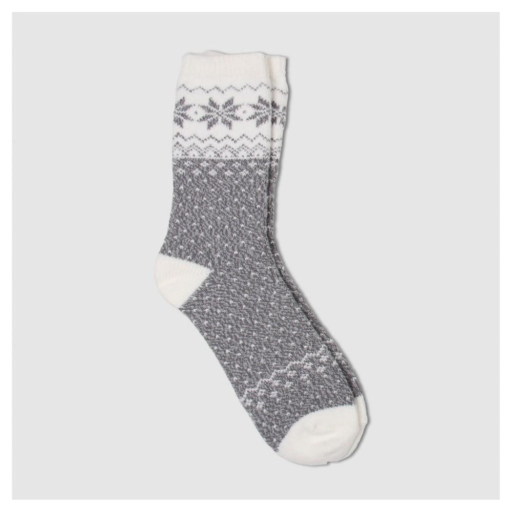 Womens Warm Essentials by Cuddle Duds Snowflake Fair Isle Super Soft Crew Socks - Gray One Size