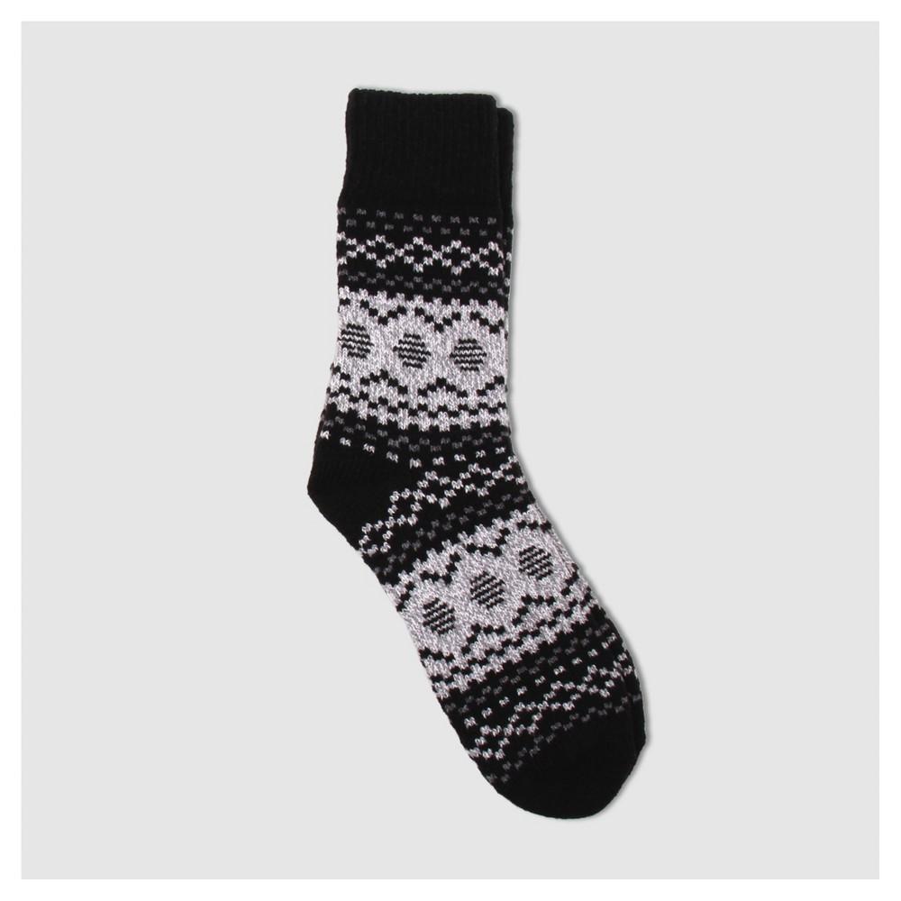 Womens Warm Essentials by Cuddle Duds Fair Isle Super Soft Crew Socks - Black One Size