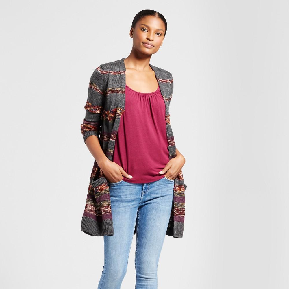 Women's Multi Stripe Cardigan - Knox Rose Charcoal M, Multicolored