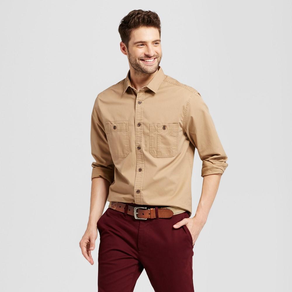 Mens Standard Fit Military Long Sleeve Shirt - Goodfellow & Co Tan Xxl