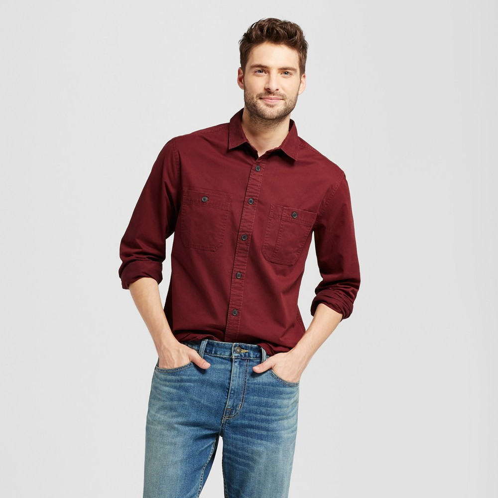 Mens Standard Fit Military Long Sleeve Shirt - Goodfellow & Co Burgundy (Red) L