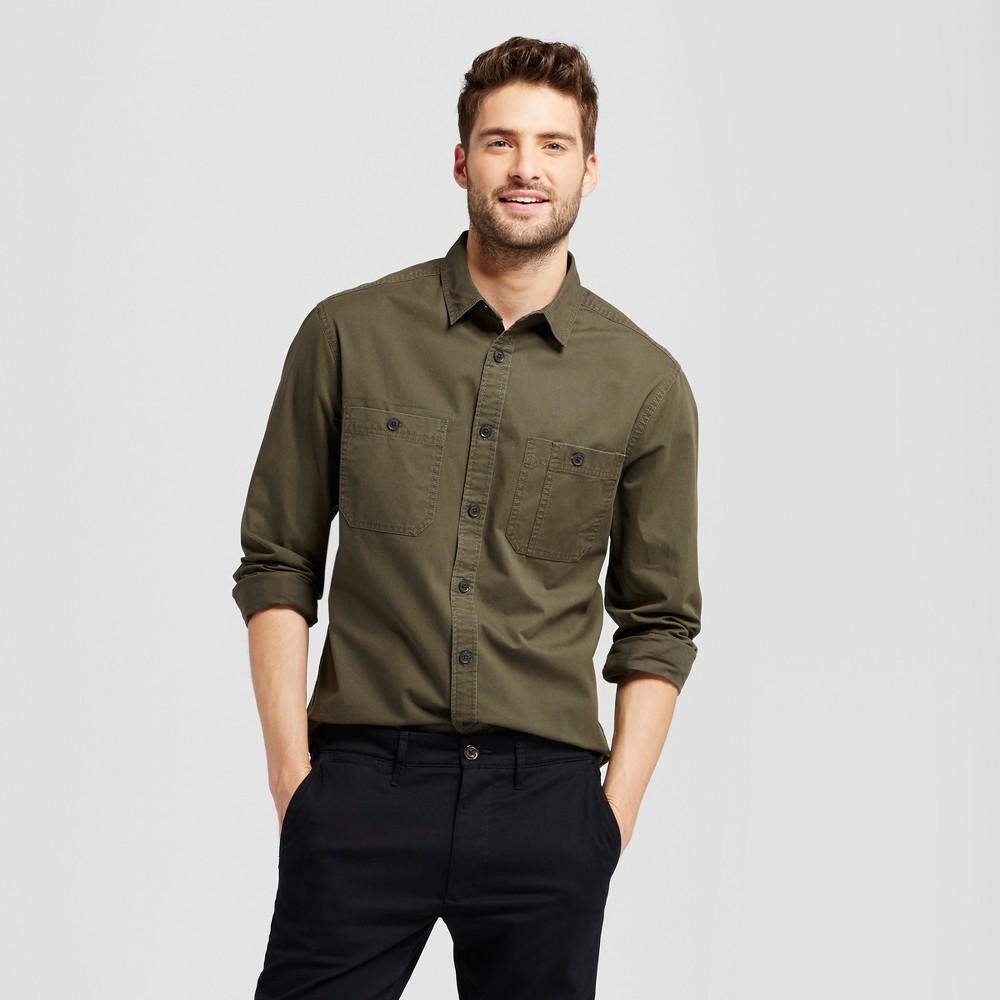 Mens Standard Fit Military Long Sleeve Shirt - Goodfellow & Co Green Xxl