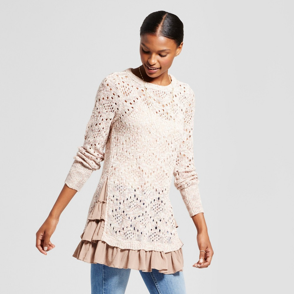 Womens Pointelle Ruffle Hem Sweater - Knox Rose Cream S, Multicolored