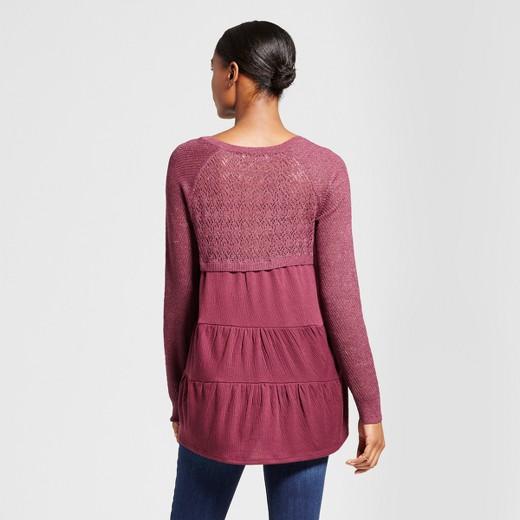 Women's Pointelle Ruffle Hem Sweater - Knox Rose™ Burgundy : Target