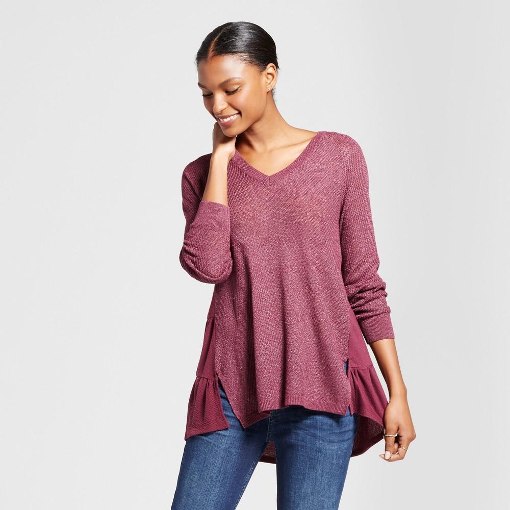 Womens Pointelle Ruffle Hem Sweater - Knox Rose Burgundy S, Red