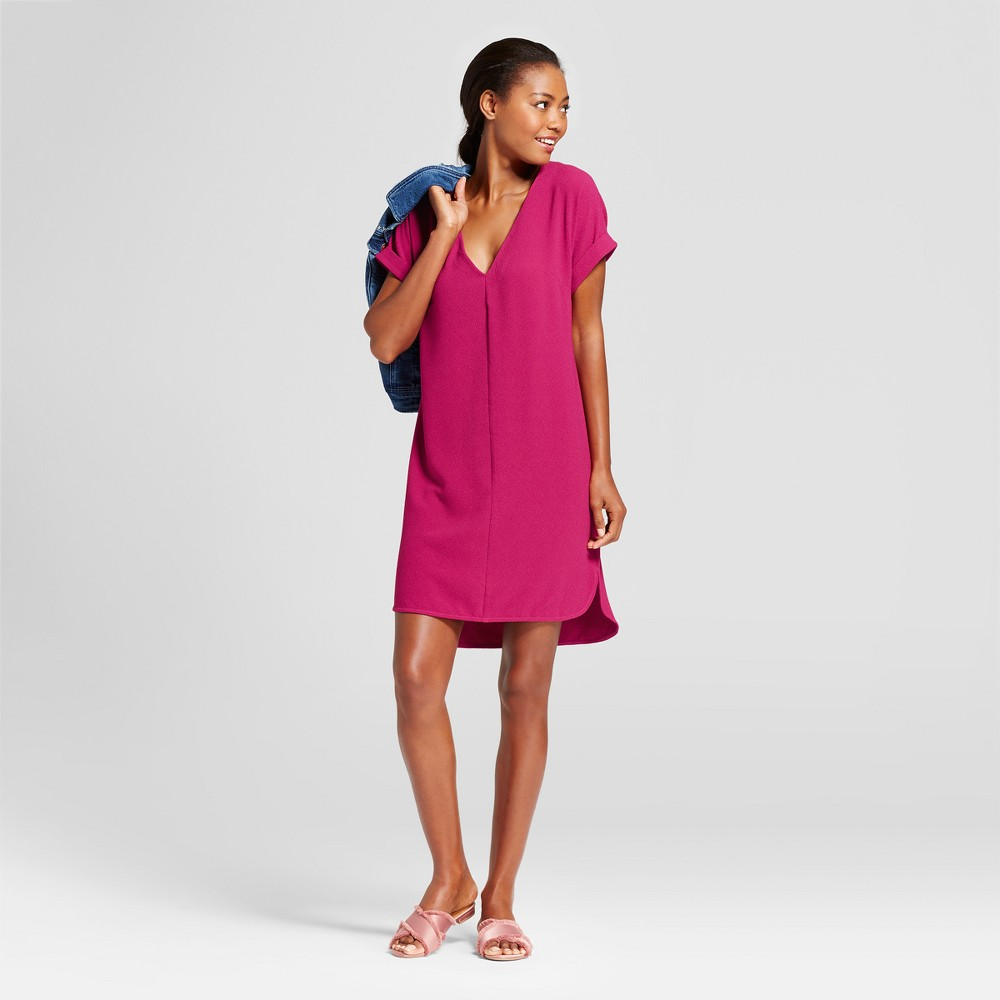 Womens Short Sleeve Crepe Dress - A New Day Magenta (Pink) L