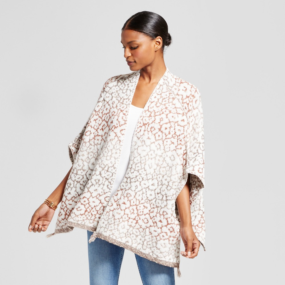 Womens Animal Floral Jacquard Poncho - Knox Rose White XL, Multicolored