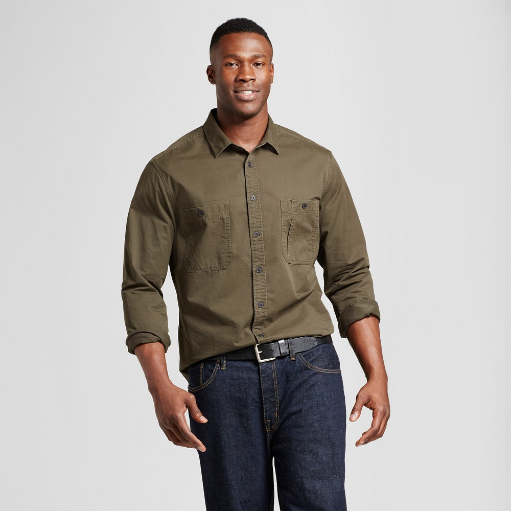 Mens Big & Tall Standard Fit Military Shirt - Goodfellow & Co Green MT