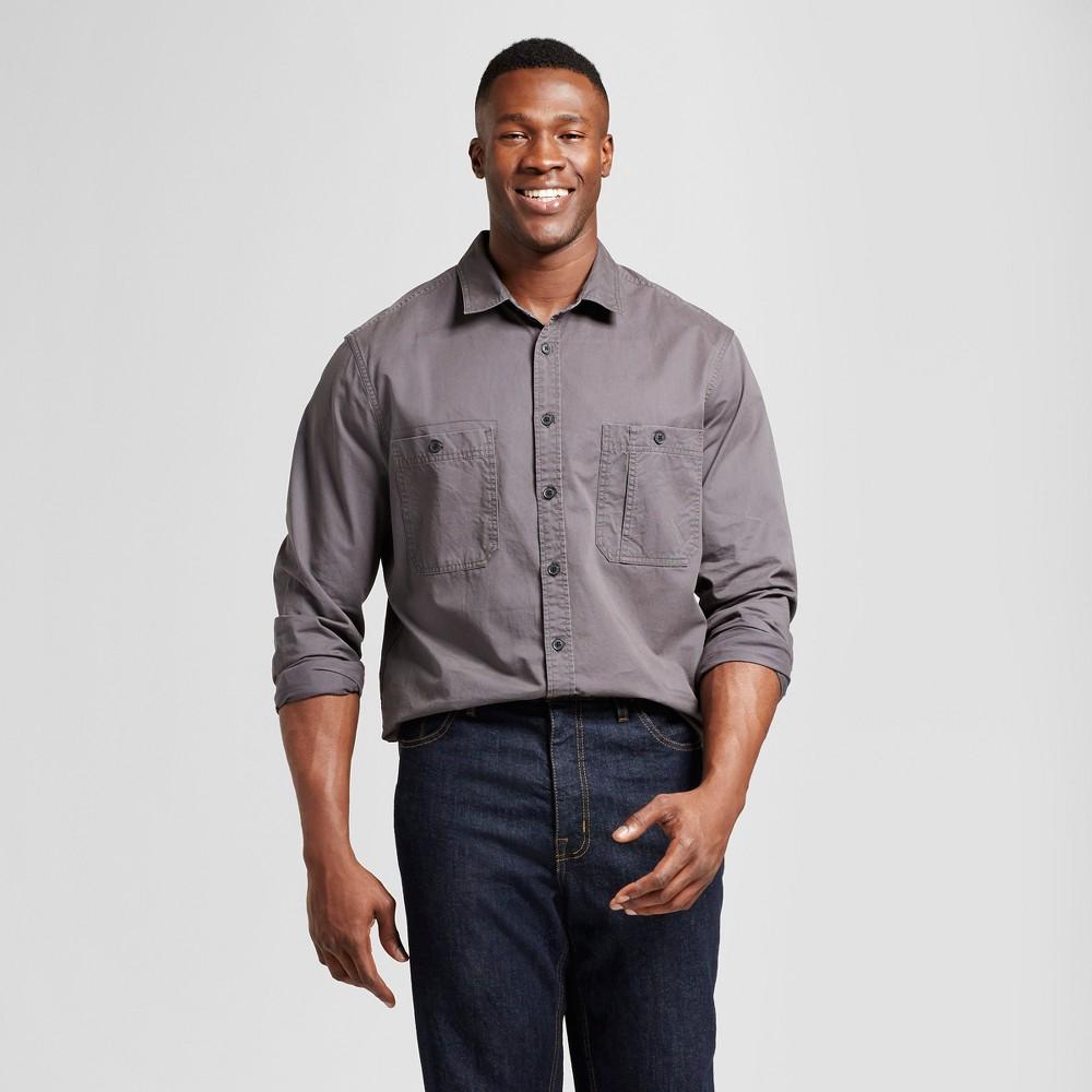 Mens Big & Tall Standard Fit Military Shirt - Goodfellow & Co Gray LT