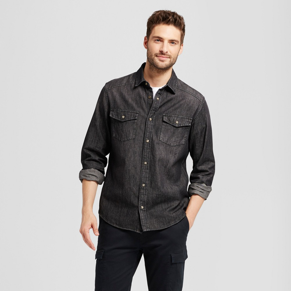 Mens Long Sleeve Denim Shirt - Goodfellow & Co Black Wash S