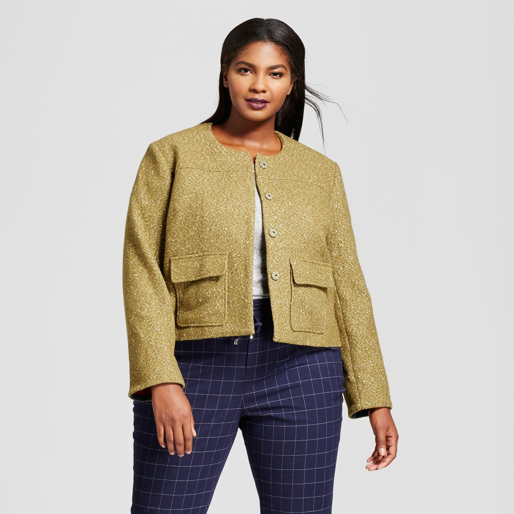 Womens Plus Size Cropped Tweed Jacket - A New Day Olive 24W, Green