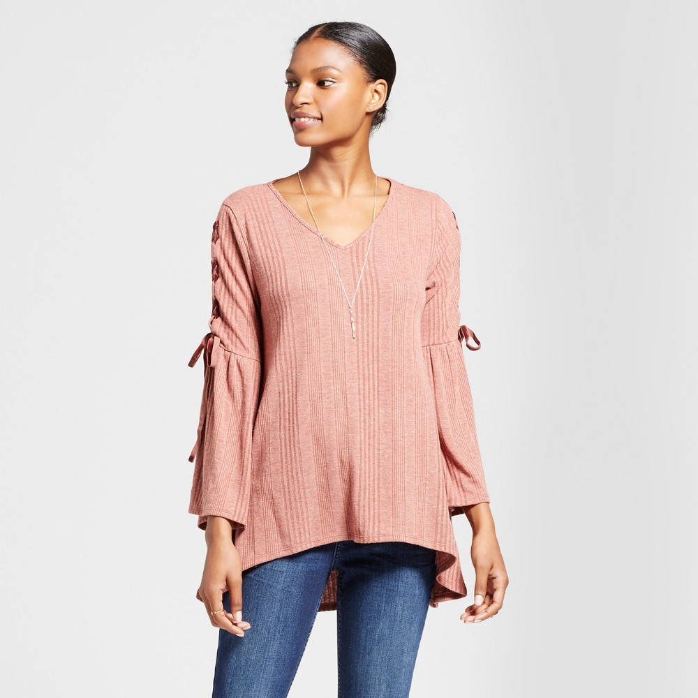 Womens Velvet Lace Up Sleeve Top - Knox Rose Vintage Rust S, Red