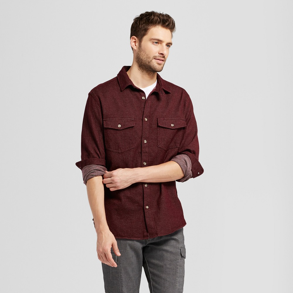 Mens Slim Fit Long Sleeve Button Down Work Shirt - Goodfellow & Co Burgundy (Red) L