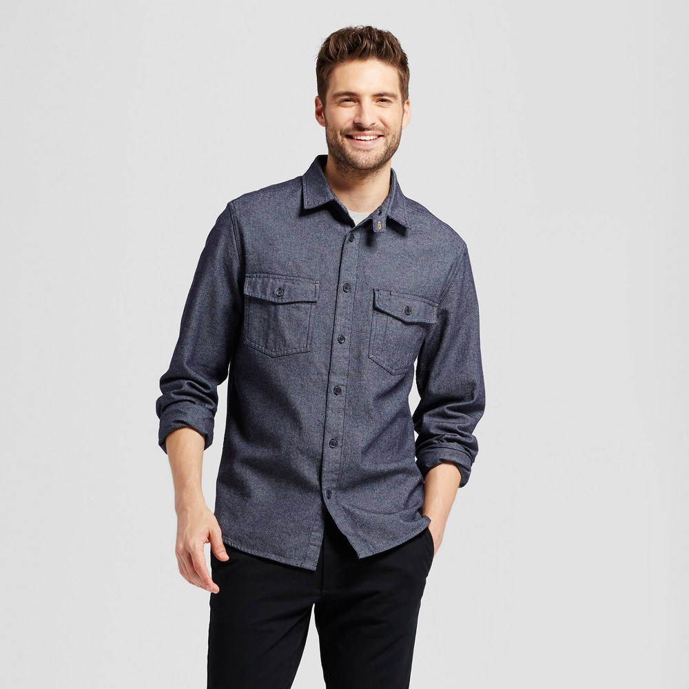 Mens Slim Fit Long Sleeve Button Down Work Shirt - Goodfellow & Co Blue Xxl